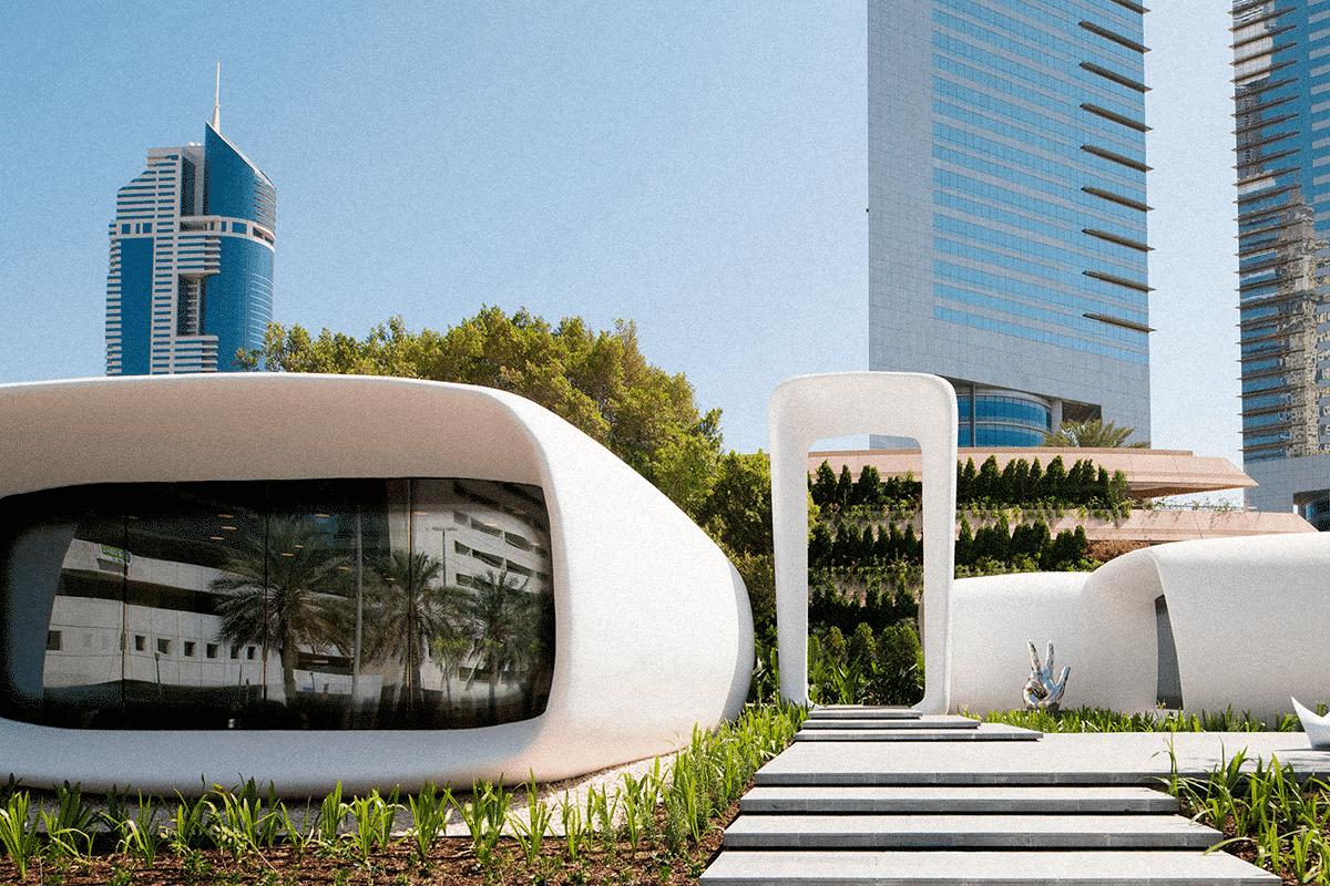 """Dubai Future Foundation, Emirados Árabes. Escritório """"impresso"""" em impressora 3D"""